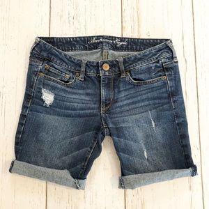American Eagle midi distressed denim shorts 6